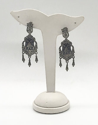 Victorian Style Chandelier Silver and Marcasite Earrings