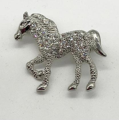 Horse Brooch Pin Clear Rhinestones