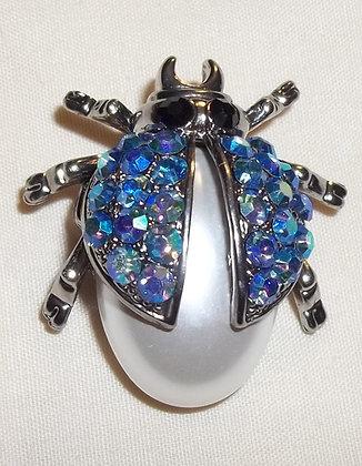 Ladybug Brooch Pin Blue AB & Costume Pearl