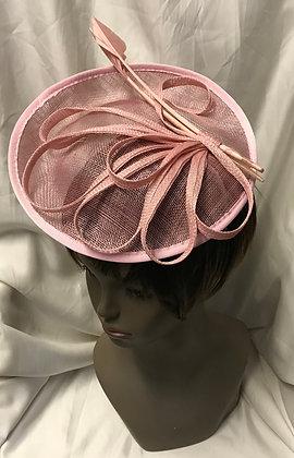 Medium Round Shape Fancy Light Pink with Floral Design Fascinator