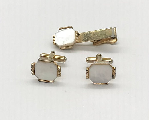 Vintage Cufflink Set with Mother of Pearl