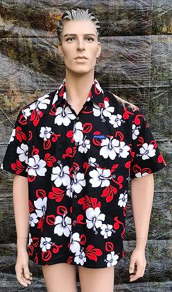 Vintage Hawaiian Luau Shirt Black, Red and White Floral Design XL
