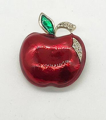Red Apple Brooch Pin
