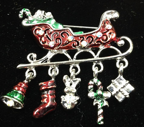 Christmas Sled with Candy Cane & Gifts Brooch Pin