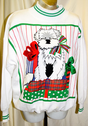 Vintage Christmas Sweater with Dog Portrait M