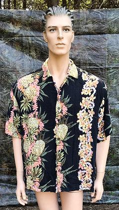 Vintage Hawaiian Aloha Shirt Black, Peach, Yellow and Green XL