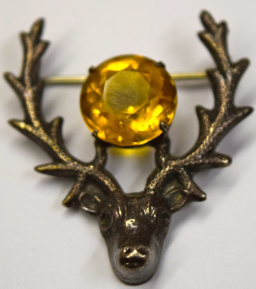 Vintage Silver Scottish Thistle Deer/Stag Head Brooch Pin