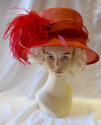 Red Fancy Derby Hat with Marabou Feathers