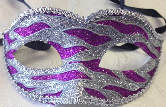 Sparkle Flame Masquerade Mask Purple and Silver