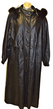 Women's Vintage Leather Ranch Leather Trench Coat Black Coat