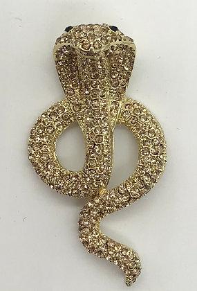 Cobra Brooch with Gold Rhinestones