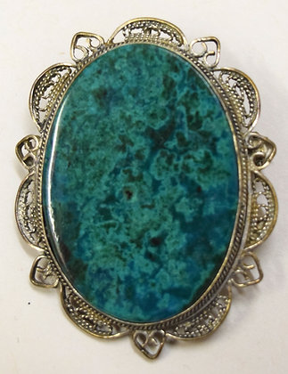 Antique Silver & Turquoise Birks Brooch Pin