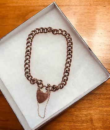 Vintage 9k Gold Simple Heart Shape Padlock Clasp Bracelet