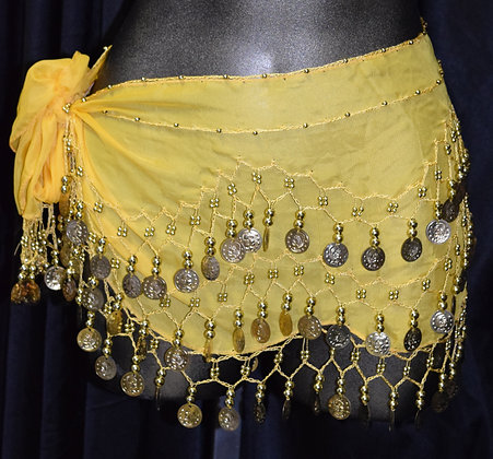 Belly Dancing Coin Wrap Yellow