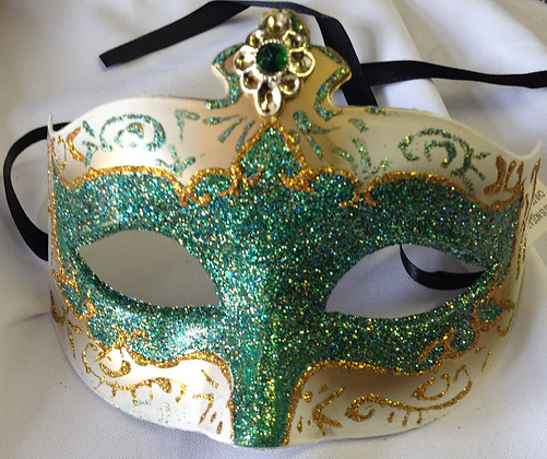 Decorative Masquerade Mask Green & Gold