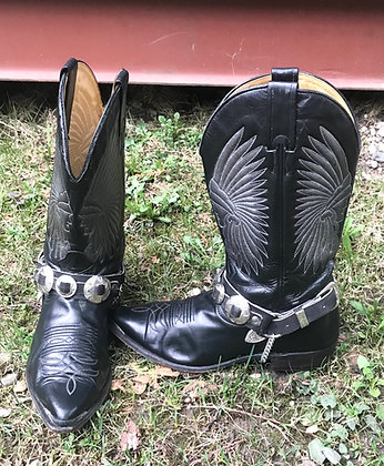 Vintage Boulet Men's Black Western Boots Size 7.5 with Boot Straps