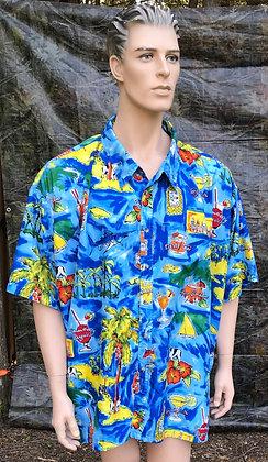 Men's Colourful Island Design Shirt 5X