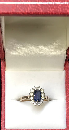 Vintage 14K Gold with Blue & White Sapphires Ring