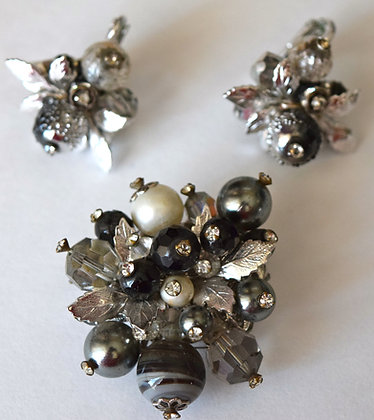 Vintage Vendome Brooch Pin with Clip Earrings Set
