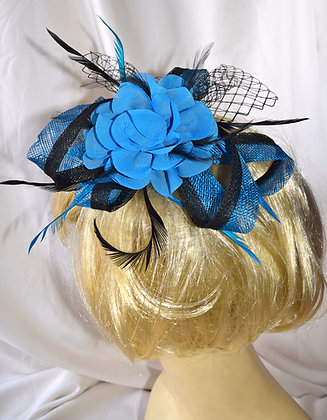 Turquoise Blue and Black Floral Fancy Fascinator with Feathers & Bird Cage