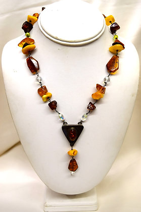 Baltic Amber with Silver & Crystals Necklace