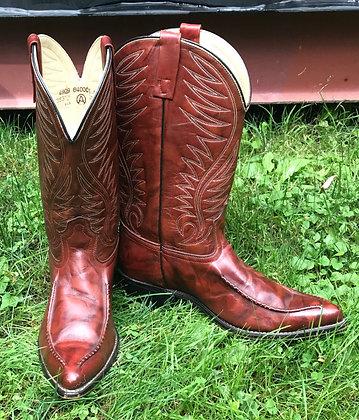 Vintage Men's Brown Western Boots Size 10D