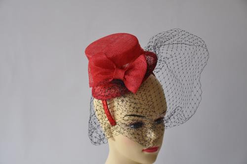 Fancy Red Top Hat Style With Bow Fascinator