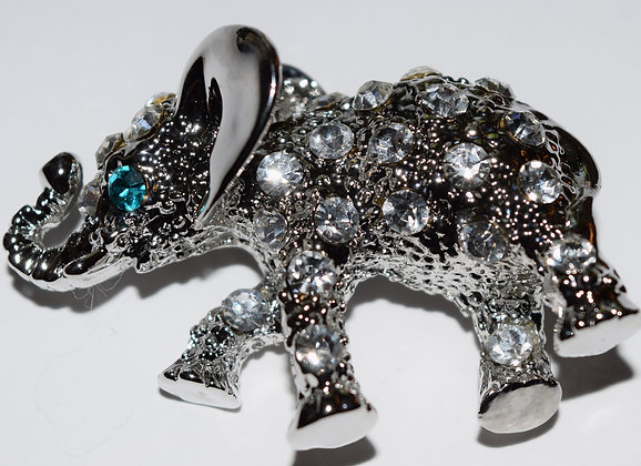 Elephant Brooch Pin Clear