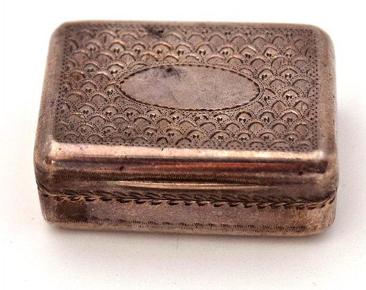 Antique 1800's Thomas Barker Hallmark Sterling Silver Miniature Snuff Box