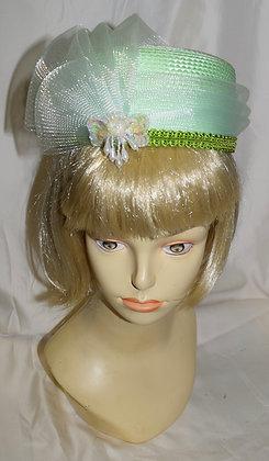 Vintage Light Green Pillbox Fancy Summer Hat