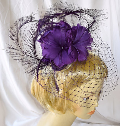 Purple Feather Floral Fancy Fascinator with Birdcage