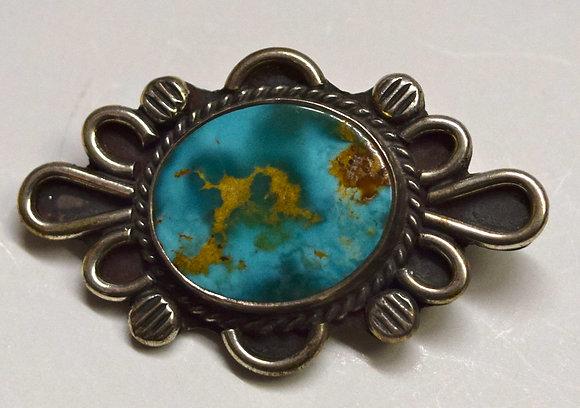 Vintage Turquiose & Floral Design Silver Brooch Pin