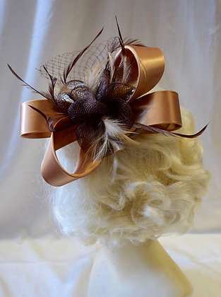 Gold and Brown Ribbon Bow Floral Fancy Fascinator