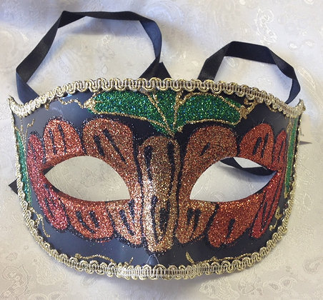 Sparkle Masquerade Mask Red, Orange and Green