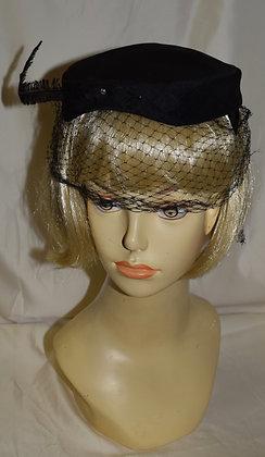 Vintage Black Pillbox with Birdcage Fancy Summer Hat