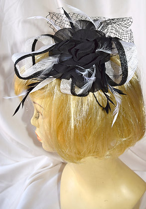 Black & White Floral Fancy Fascinator with Feathers & Bird Cage