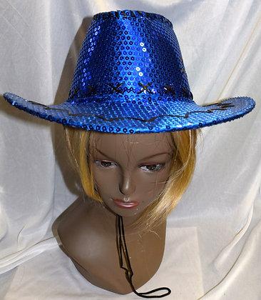 Sequin Cowboy Hat Blue