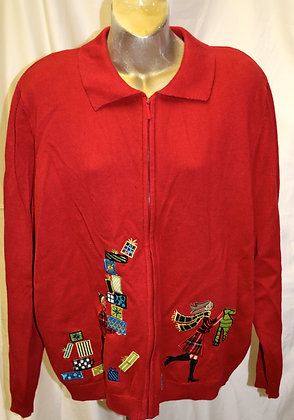 Vintage People with Presents Christmas Sweater XL
