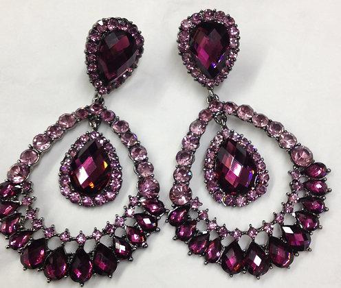 Large Purple Chandelier Clip-on Earrings