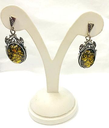Oval Shape Green Baltic Amber & Silver Drop Earrings