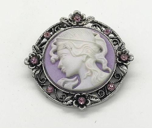 Costume Cameo & Floral Design Brooch Pin Purple