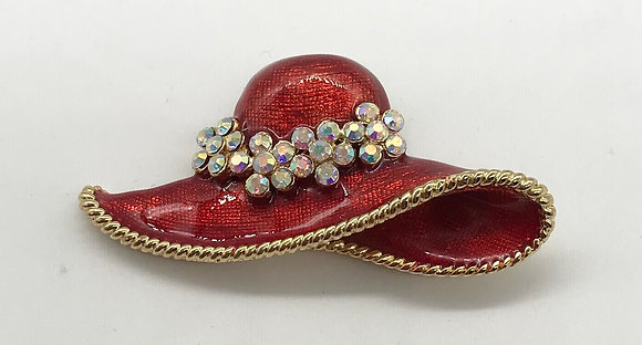 Red Hat Brooch Pin & Pendant with Rhinestones
