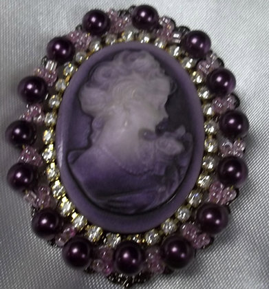 Victorian Style Costume Purple Cameo Brooch