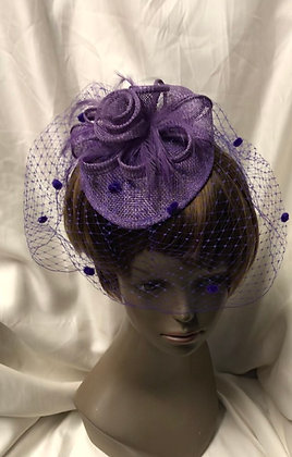 Small Pear Pillbox Fancy Purple Floral with Birdcage Design Fascinator