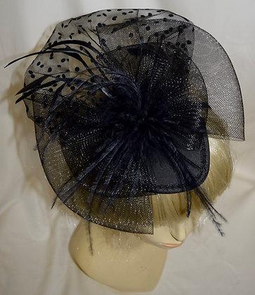 50's Style Fancy Fascinator Black