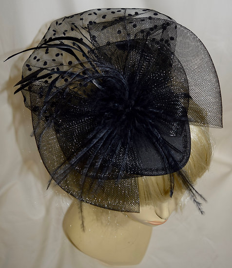 50's Style Fancy Fascinator Black