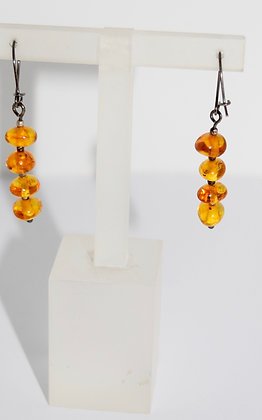 Simple Cognac Multi Baltic Amber Beads with Silver Drop Earrings