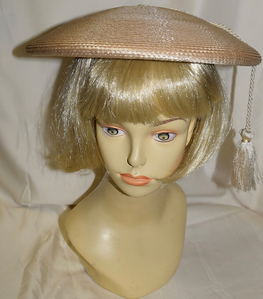 Vintage Beige Fancy Summer Hat with Tassel