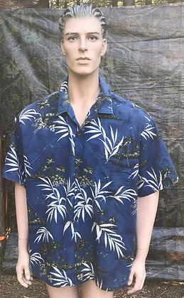 Vintage Hawaiian Aloha Luau Shirt Dark Blue, Green and Beige 3XL