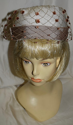 Vintage Miss Diane Beige Pillbox with Birdcage Fancy Summer Hat